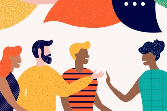 Flat style vector illustration, discuss social network, news, chat, dialogue speech bubbles